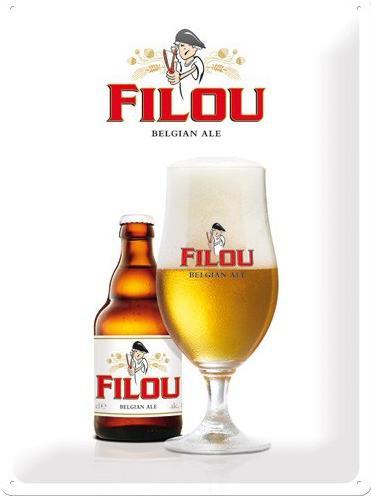Filou Belgian Ale Metalen wandbord in reliëf 30 x 40 cm