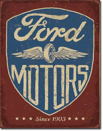 Ford Motors - Since 1903    Metalen wandbord 31,5 x 40,5 cm.