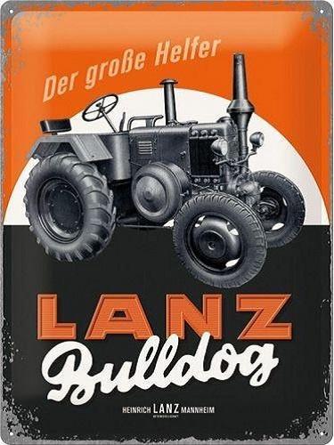 LANZ Bulldog Der Große Helfer  Metalen wandbord inreliëf30x40 cm