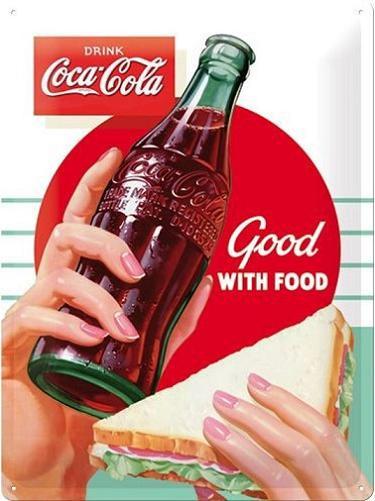 Coca Cola Good With Food Metalen wandbord in reliëf 30 x 40 cm