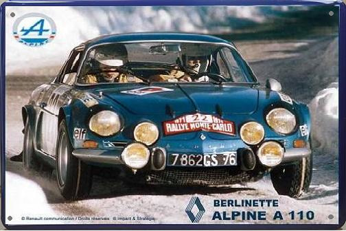 Renault Alpine A110 Berlinette Metalen Wandbord 30 x 40 cm.
