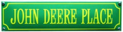 John Deere Place Groen Emaille bordje.