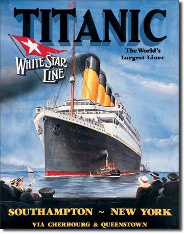 Titanic - White Star  Metalen wandbord 31,5 x 40,5 cm.