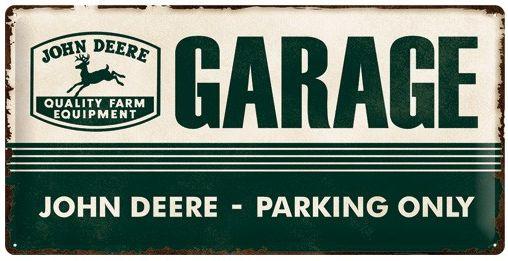 John Deere Garage Parking Only Metalen wandbord in reliëf 25 x 50 cm