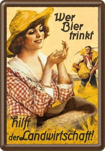 Wer Bier trinkt hilft... Fraulein  Metalen Postcard 10 x 14 cm.