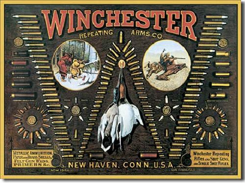 Winchester Repeating Arms Co. .  Metalen wandbord 31,5 x 40,5 cm.