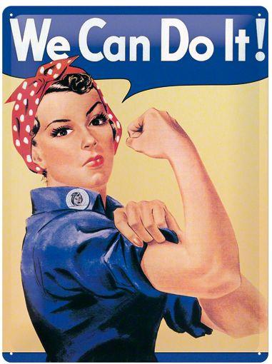 We Can Do It! Metalen wandbord in reliëf 15x20 cm