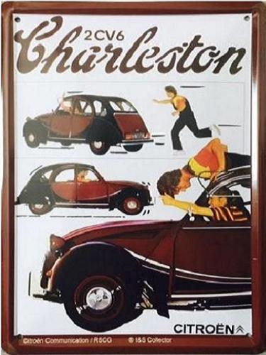 2CV6 Charleston.  Metalen Wandbord 15 x 20 cm.