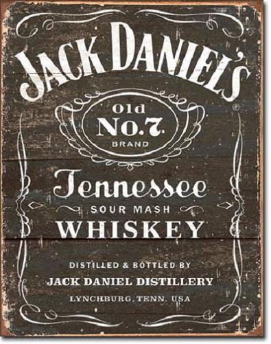 Jack Daniel's Old No 7 Tekst Metalen wandbord 31,5 x 40,5 cm.