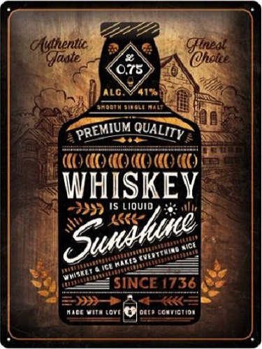 Whiskey Is Liquid Sunshine​.  Metalen wandbord in reliëf 30 x 40 cm.