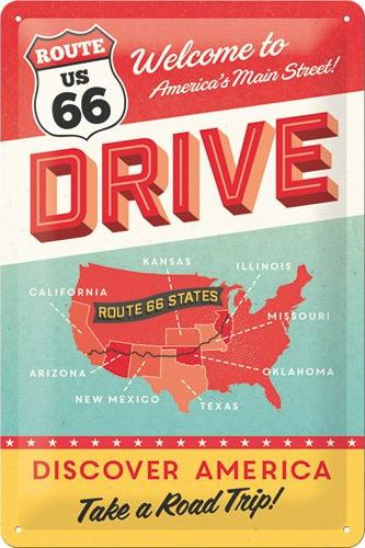 Drive Route 66 Metalen wandbord in reliëf 20 x 30 cm.