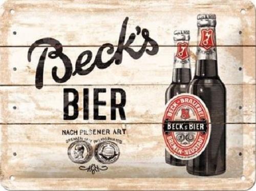 Beck's Bier on Wood Metalen wandbord in reliëf 15 x 20 cm.