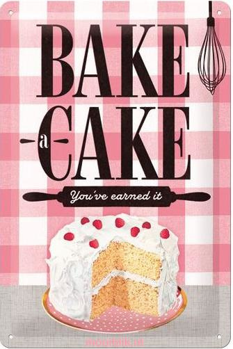 Bake a CakeMetalen wandbord in reliëf 20 x 30 cm
