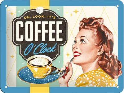 Coffee O' Clock  Metalen wandbord in reliëf 15 x 20 cm..
