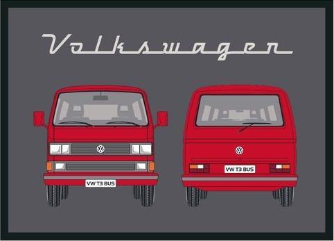VW T3 Bus  Deurmat Zwart/Rood