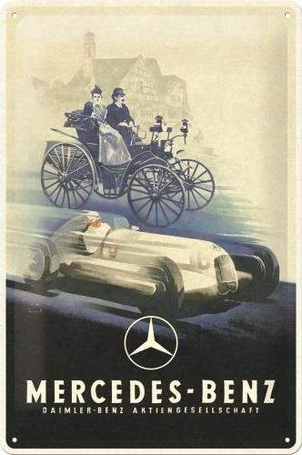 Mercedes Benz.   Metalen wandbord in reliëf 20 x 30 cm.