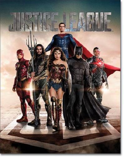 Justice League Movie  Metalen wandbord 31,5 x 40,5 cm.