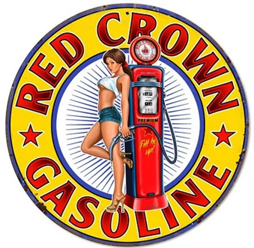 Red Crown Gasoline  Pin Up.  Stalen wandbord 35,5 cm rond.