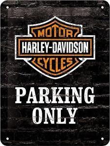 Harley Davidson Parking Only Metalen wandbordin reliëf15x20 cm