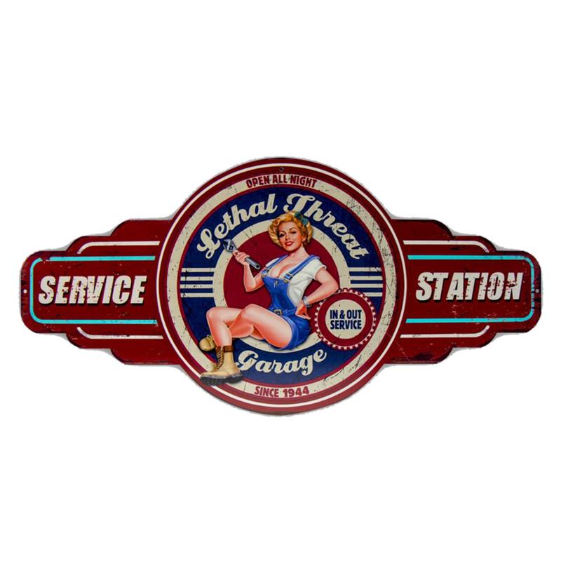 Pin-up Service Station Metalen wandbord 60 X 28,5 cm