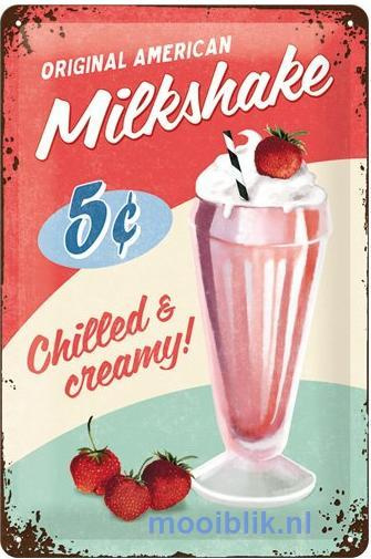 American Milkshake Metalen wandbord in reliëf 20 x 30 cm