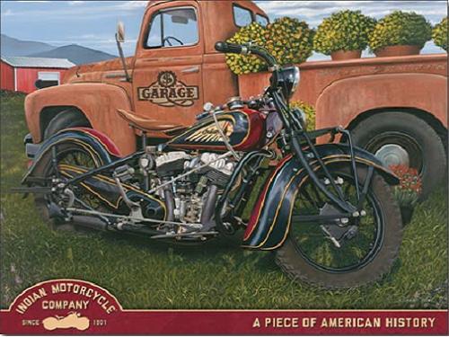 Indian Motorcycle Co.  Metalen wandbord 31,5 x 40,5 cm.