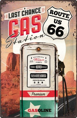 Route 66 Last Chance Gas Station Metalen wandbord in reliëf 20 x 30 cm