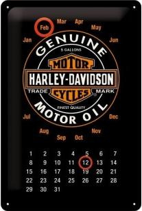 Harley Davidson Motor Oil Kalender Metalen wandbord in reliëf 20 x 30 cm