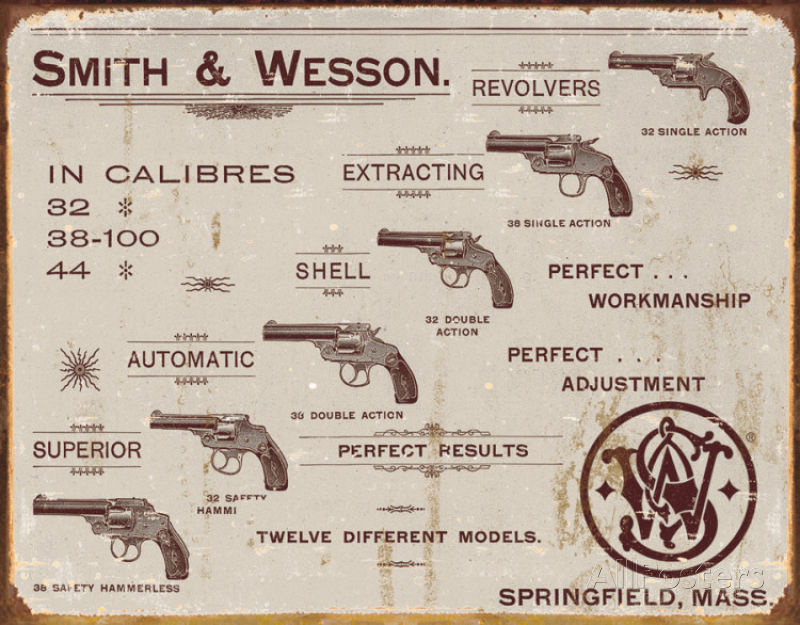 Smith & Wesson Revolvers Metalen wandbord 31,5 x 40,5 cm.