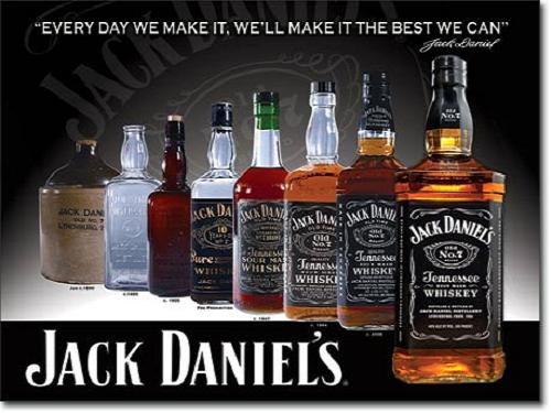 Jack Daniels - Bottles Metalen wandbord 31,5 x 40,5 cm.