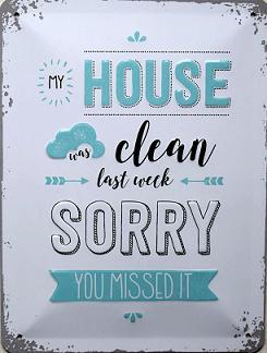 My House Was Clean Metalen wandbord in reliëf 15 x 20 cm.
