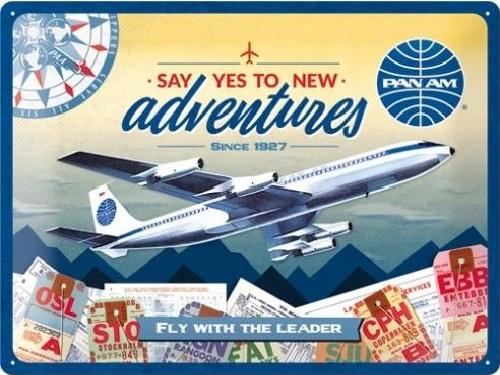 Pan Am - New Adventures.  Metalen wandbord in reliëf 30 x 40 cm.