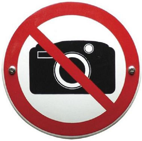 Verboden te fotograferen Emaille bordje ⌀ 10cm.