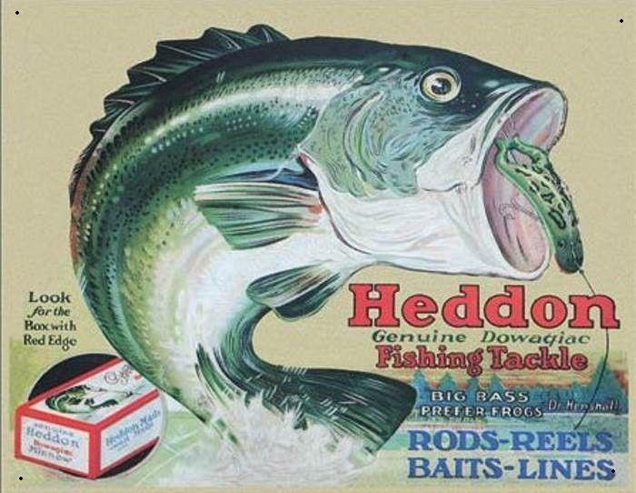 Heddon Fishing Tackle Metalen wandbord 31,5 x 40,5 cm.