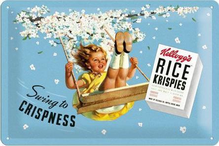 Kellogg's Swing to Crispness Metalen wandbord in reliëf 20 x 30 cm