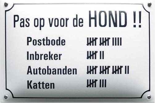 Pas op voor de HOND!! Emaille bordje 20 x 30 cm.