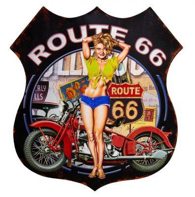 Route 66 Pin up Metalen Wandbord 80 x 68 cm