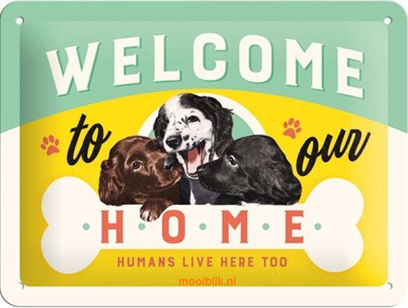 Welcome to our Home Metalen wandbordin reliëf15x20 cm
