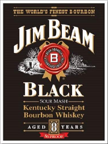 Jim Beam Black Label . Metalen wandbord 40,5 x 31,5 cm.