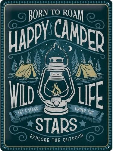 Happy Camper  Metalen wandbord in reliëf 30 x 40 cm