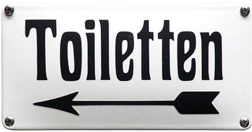 Toiletten. Pijl naar links Emaille bordje 20 x 10 cm.