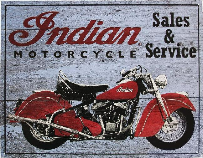 Indian Motorcycle Sale & Service Metalen wandbord 31,5 x 40,5 cm