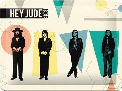 The Beatles Hey Jude 1968 Metalen wandbord in reliëf15 x 20 cm.