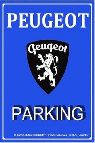 Peugeot Parking.  Metalen wandbord in reliëf 20 x 30 cm.