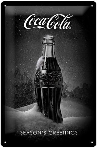Coca Cola Season's Greetings black.Metalen wandbord in reliëf 20 x 30 cm.
