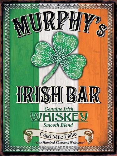 Murphy's Irish Bar. Metalen wandbord 30 x 40 cm.