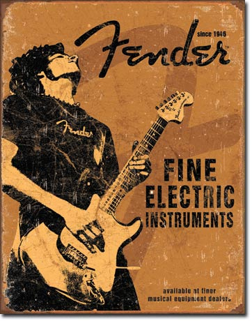 Fender  Rock On   Metalen wandbord 31,5 x 40,5 cm.