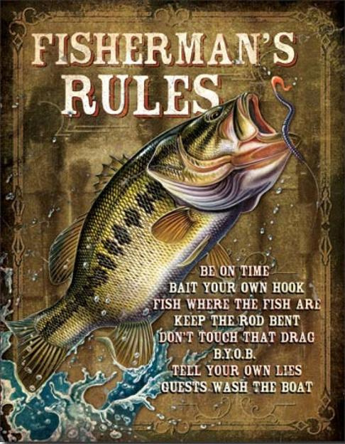 Fisherman's Rules Metalen wandbord 31,5 x 40,5 cm.