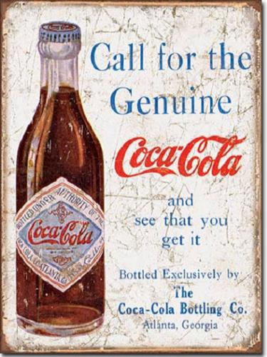 Coca Cola Call for the Geniune  Metalen wandbord 31,5 x 40,5 cm.