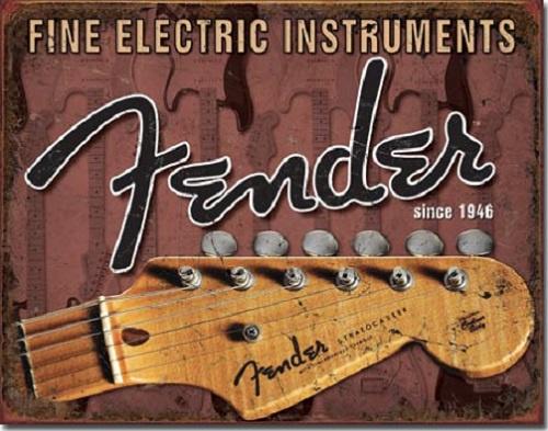 Fender Headstock  Metalen wandbord 31,5 x 40,5 cm.